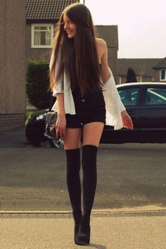 Over The Knee Black Tights