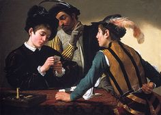 The Cardsharps (I Bari), ca. 1594  Caravaggio (Michelangelo Merisi) (Italian, Lombard, 1571–1610)  Oil on canvas; 50 1/8 x 63 3/4 in. (127.3 x 161.9 cm)  Kimbell Art Museum, Fort Worth
