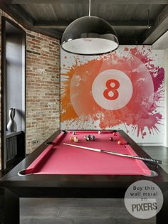 Pink Billiards Table. I would put a chandelier above it and love the mural!