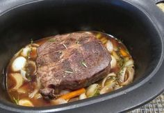 This is a simple how-to for a slow cooker pot roast and gravy. This beef pot roast is cooked to perfection in the crock pot with vegetables and broth. Onion Soup Recipes, Pot Roast Recipes, Slow Cooker Recipes, Crockpot Recipes, Cooking Recipes, Moose Recipes, Dinner Recipes, Venison Recipes, Game Recipes