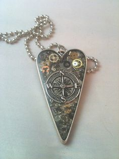 Clockwork Clutter Compass Charm Heart Necklace by DreaminSteam (love this design too...would transfer well as a tattoo)