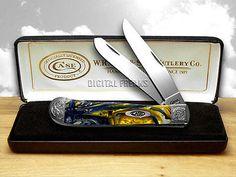 CASE XX Engraved Bolster Series Genuine Sapphire Corelon Trapper Pocket Knife