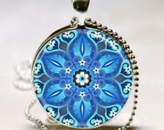 Dazzling Blue Kaleidoscope Mandala Jewelry Geometric Floral Art Print With Ball Chain Necklace Included