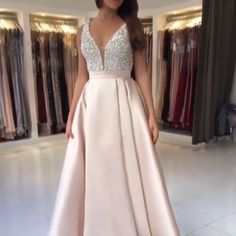 Sparkly Satin Pink Beaded Long Prom Dress With Open Back - Long prom dresses Pink Prom Dresses, Backless Prom Dresses, Prom Dresses Online, Cheap Prom Dresses, Dresses For Teens, Modest Dresses, Elegant Dresses, Pretty Dresses, Beautiful Dresses