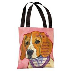 "Tote bag with a beagle design and list of personality traits. Product: Tote bagConstruction Material: Woven polyesterColor: MultiDimensions: 17"" H x 17"" WCleaning and Care: Blot stains with a damp cloth"