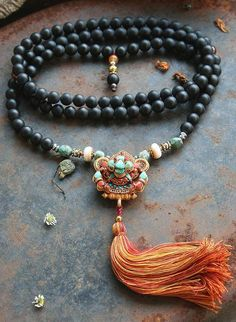 Frosted Onyx Mala necklace decorated with a gold plated Ghau (Gau) box - Made by look4treasures http://www.stylewarez.com