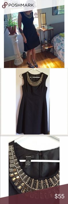 Black Alfani Dress NWOT This black Alfani dress is perfect for the holidays. NWOT. Never worn because it's too big, so it's in perfect condition. This dress has gorgeous beading around the collar and would go beautifully with black heels or pumps. The silhouette is a little retro but the dress is entirely modern! Will steam before shipping & includes the original extra beads that came with the dress when purchased. Size 2. Alfani Dresses Strapless