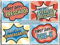 Superhero themed printable First Day Of School signs for Preschool through Grade 12