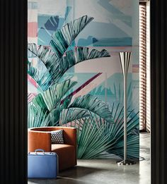 amazing deco inspired wallpaper with palms with a soft palette feeling very south beach