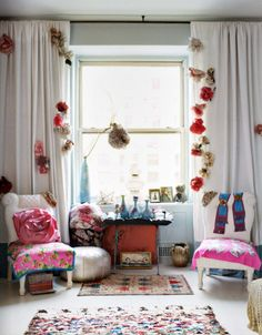 flowers on the curtain