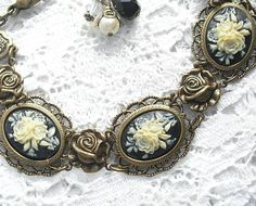 Floral Cameo Bracelet  Victorian Style by MorningGloryDesigns