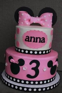 """Minnie Mouse cake for October customer. 4"""" on top of 6"""""""