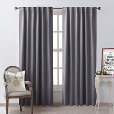 NICETOWN Blackout Curtain Panels Window Draperies - (Grey Color) Inch, 2 Pieces, Insulating Room Darkening Blackout Drapes for Bedroom Baby Room Curtains, Home Curtains, Grey Curtains, Velvet Curtains, Colorful Curtains, Panel Curtains, Curtain Panels, Insulated Curtains, Blackout Drapes