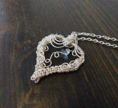 Heart Necklace Jewelry Gift for Wife, Girlfriend Pendant, Swarovski Butterfly, Unique Wire Wrap, Artistic Weave, Present for Her, Mom Ideas