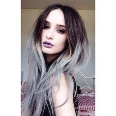 Dark brown and silver/ grey ombré hair