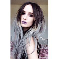 Dark brown and silver/ grey ombré hair