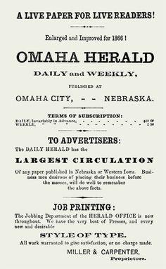 1866 ad for the Omaha Herald Vintage Newspaper, Advertising, Ads, Nebraska, Iowa, Politics, Lettering, Writing, World