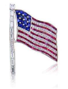 Blinged out American flag in Platinum.