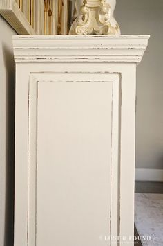 "Dining Room Buffet Furniture Makeover using Fusion Mineral Paint Champlain  Fusion's Champlain is the perfect off-white, and my go-to color for anyone who wants ""white"" furniture. used wax block prior p distress"