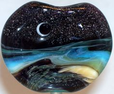 WSTGA~A MILLION STARS~SEA OCEAN MOON handmade lampwork focal glass bead SRA #Lampwork By Molly Cooley