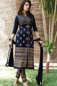 Navy Blue Cotton Suit With Chiffon Dupatta
