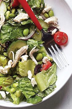 This healthy dinner salad recipe with cucumber, feta, basil and olives has edamame added for extra protein. Serve with toasted pita brushed with olive oil and sprinkled with oregano. #salads #saladrecipes #healthysalads #saladideas #healthyrecipes