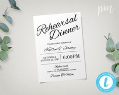 Dinner Invitation Template Prepossessing Rehearsal Dinner Invitation Template Diy Printing Custom  Rehearsal .