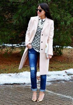 2 - girly girl (Zara coat + J Crew shirt + JC Fact bow sweater + Armed & Readi necklace + J Crew heels) <<<Pink Avenue