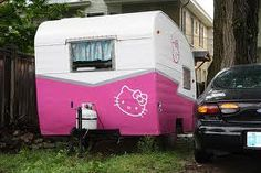 Hello kitty  restored vintage camper. Because I think you like Hello Kitty