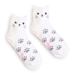 Cute Cats Footprints Socks Pack of 5pairs (White hair cats Turkish Angora cat paw pattern socks) girls women teenagers fashion socks
