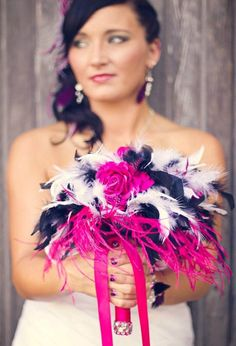 Feathers add a bit of fun to a bouquet!