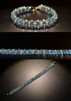 bracelet perles turquoises et transparentes  irisée / blue lagoon and iridescent pearl bracelet