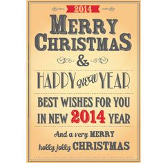 Free vector Vintage beautiful merry Christmas and Happy new year 2014 Typography with best wishes message poster design template illustratio...