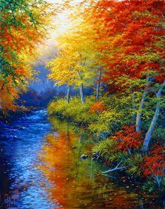 Lienzos con paisajes del otoño Imágenes de paisajes naturales del otoño pintados en óleo sobre lienzo Cuadros pinturas decorativas con pai...