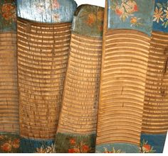 hand painted antique Chinese scrub boards
