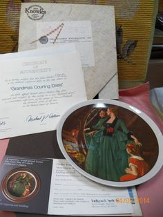 Knowles China Ltd Ed Rockwell Grandma's Courting Dress #1866B Plate 1984 COA