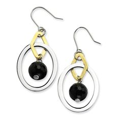 Now available on our store: Stainless Steel Y... Check it out here! http://shirindiamond.net/products/stainless-steel-yellow-ip-plated-polished-circles-w-onyx-earrings-sre194?utm_campaign=social_autopilot&utm_source=pin&utm_medium=pin