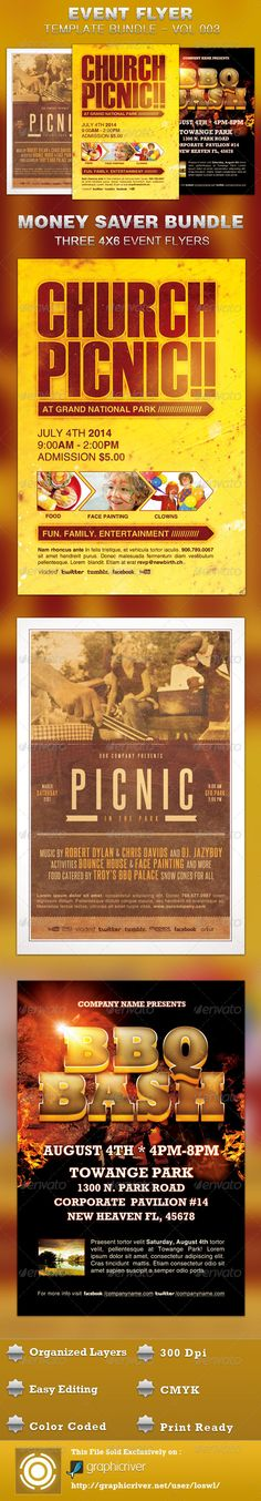 The Event Flyer Template Bundle-Vol 003 is sold exclusively on graphicriver, it caters to any Picnic or BBQ event that needs a stylistic, modern flyer. In this package you'll find 3 Photoshop files. $11.00
