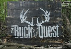 Saunzee Custom Timber Wood TradeShow Booth Sign Hunting Sign Booth Exhibit Publicly Display Signage The Buck Quest Sign Outfitter Sign