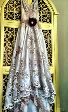 Pale mauve taupe white embroidered beaded cut work satin wedding dress by mermaid miss k