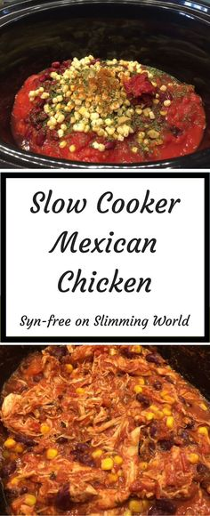 Slow Cooker Mexican Chicken- easy slow cooker recipe, syn-free on Slimming World. Great for batch-cooking for freezer meals. #slowcooker #slowcookerrecipes #mexican #mexicanfood #chicken #chickenrecipes #spicy #slimmingworld #synfree