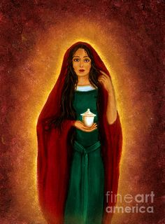 A beautiful piece of artwork depicting Mary Magdalene holding her Alabaster Jar. (Artist is Diveena Marcus) Pictures Of Mary, Images Of Mary, Pictures To Paint, Jesus Mother, Mother Art, Blessed Mother, Lady M, Our Lady, Mary Magdalene And Jesus