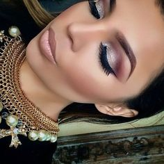 smokey eye in burgundies and silvers