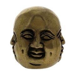 Buddhist Decor Brass Smiling Laughing Buddha Statue 2.5 Inches | ShalinIndia - Art on ArtFire