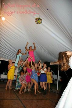 Haha what happens when you invite rugby girls to a wedding