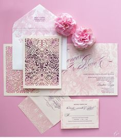 Luxury Wedding Invitations by Ceci New York - Our Muse - Blushing Pink Wedding - Fall in love with Erangani and Kevins blushing pink wedding at the Petroleum Club in Houston, Texas - laser-cut printing, letterpress printing, wedding, invitations, die cutting @Four Seasons Bridal