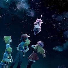 Ash Ketchum and Pikachu with their Kalos friends and Diancie ^.^ ♡