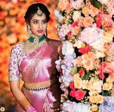 Bridal Sarees South Indian, Bridal Silk Saree, Indian Bridal Fashion, Indian Wedding Outfits, Saree Wedding, Wedding Saree Blouse Designs, Pattu Saree Blouse Designs, Half Saree Designs, Wedding Saree Collection