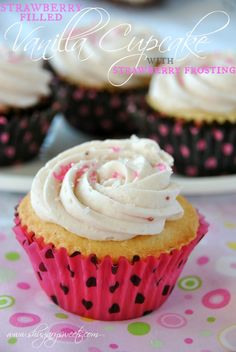 Vanilla Cupcakes with Strawberry Filling and Strawberry Buttercream Frosting: from scratch white cake recipe, with a delicious strawberry topping! #cupcake #strawberry www.shugarysweets.com