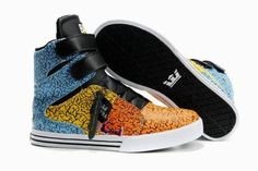 b15ebebd482d5 Blue and Yellow Black Ladies High Top Supras Tk Society Skateboard Sneakers